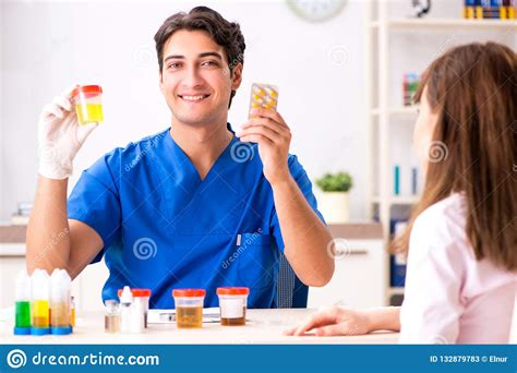 The Patient Visiting Doctor For Urine Test Stock Image