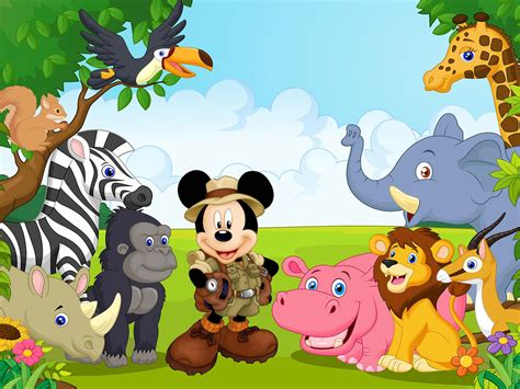 Mickey Mouse With Friends From The Jungle Safari Cartoon