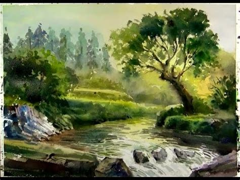 Watercolor painting : Sunshine on the Forest Stream - YouTube