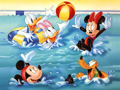 Mickey Mouse And Friends Swimming Playing In The Pool With