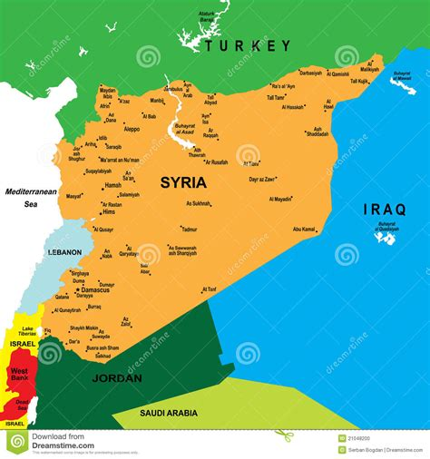 Political map of Syria stock vector